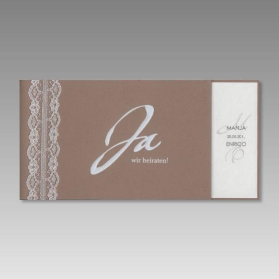 Einladungskarte zur Hochzeit mit Spitze
