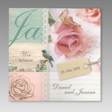 Einladungskarte zur Hochzeit im Vintage Look