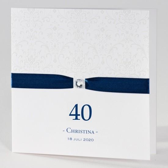 schlicht gehaltene einladungskarte 40 geburtstag mit. Black Bedroom Furniture Sets. Home Design Ideas