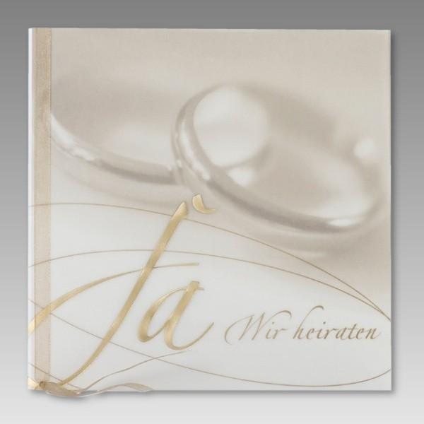 einladungskarte hochzeit mit ja wir heiraten in gold & eheringen, Einladung