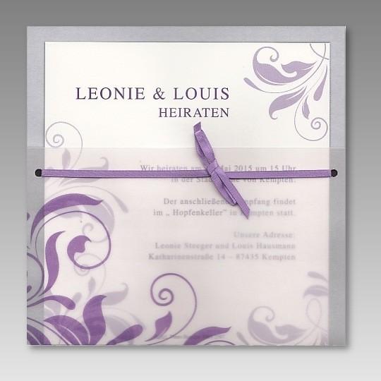 einladung zur hochzeit im transparentdesign mit ornamenten, Einladungsentwurf