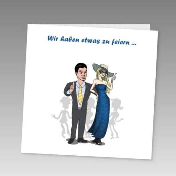 witzige einladung zur silberhochzeit im eleganten cartoon-stil, Einladung