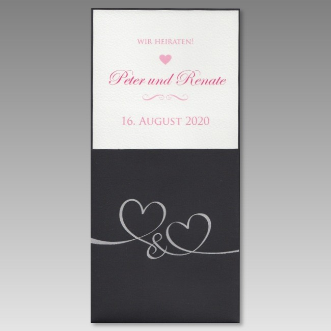 Schwarze Einladung Zur Hochzeit Mit Verschlungenen Herzen