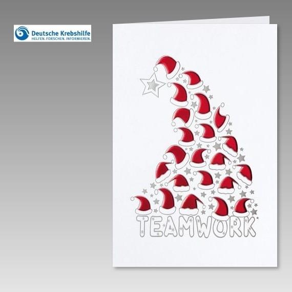 witzige spenden weihnachtskarte der deutschen krebshilfe mit aufdruck teamwork. Black Bedroom Furniture Sets. Home Design Ideas