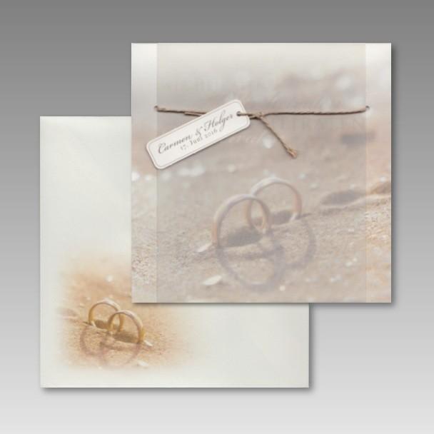 awesome Druckerei Einladungskarten Hochzeit #1: Einladungskarte zur Hochzeit: Ringe im Sand