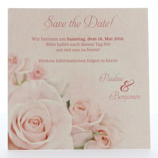 romantische save the date karte mit rosa rosen. Black Bedroom Furniture Sets. Home Design Ideas