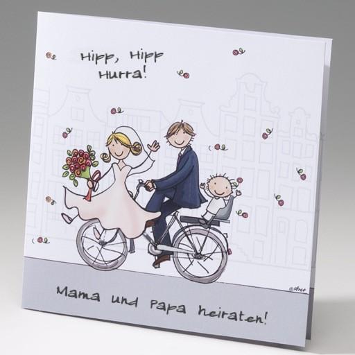 Witzige Comic Einladungskarte Für Hochzeitspaare Mit Kindern