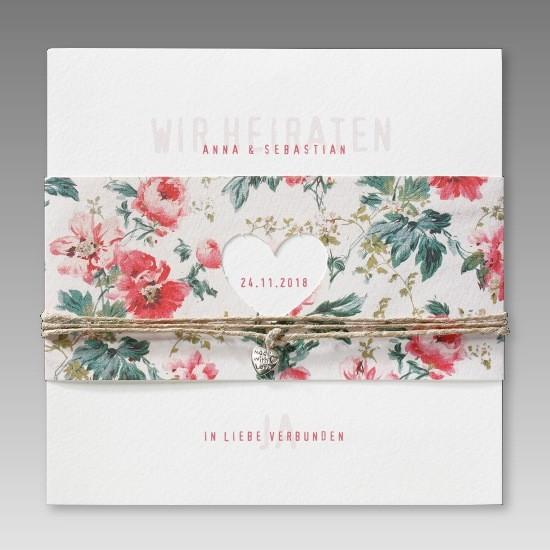 Einladungskarte zur Hochzeit mit Blumenbanderole und ...
