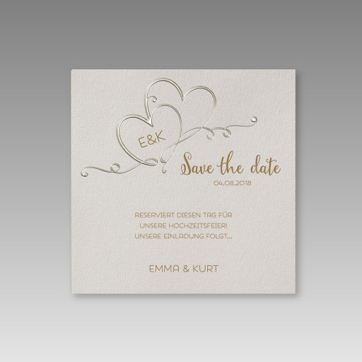 save the date karten f r die hochzeit mit verschlungenen herzen. Black Bedroom Furniture Sets. Home Design Ideas