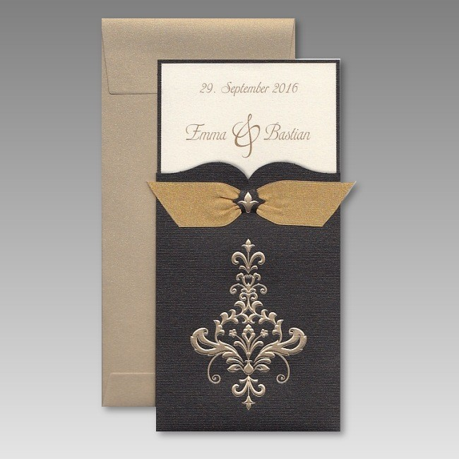 edle einladungskarte zur goldenen hochzeit mit schleife. Black Bedroom Furniture Sets. Home Design Ideas