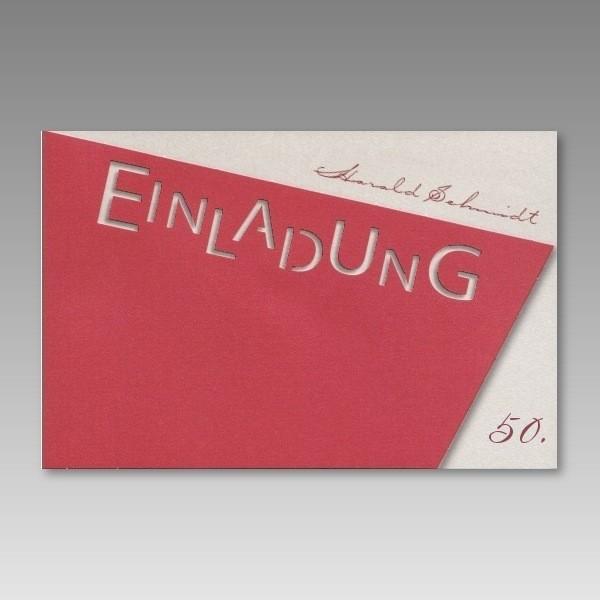 rote einladungskarte 50 geburtstag mit ausgestanztem schriftzug. Black Bedroom Furniture Sets. Home Design Ideas