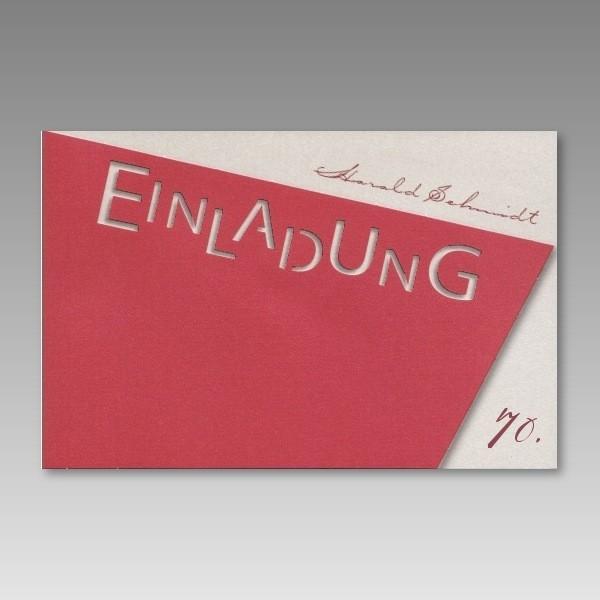 Rote Einladungskarte 70. Geburtstag mit ausgestanztem ...