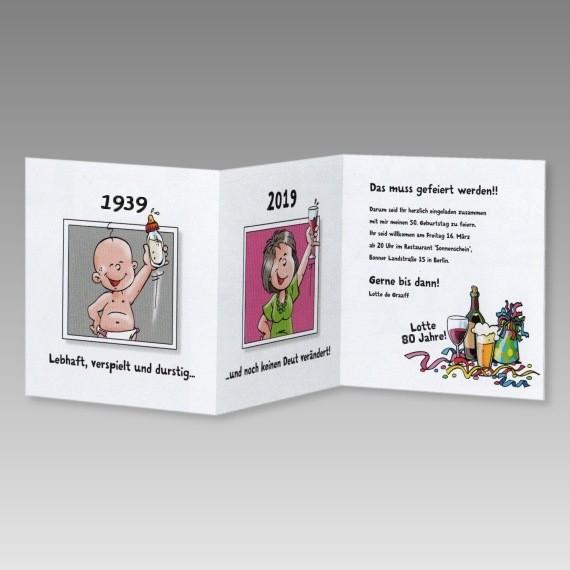 Lustige Frauen Einladungskarte 80. Geburtstag Mit Comics