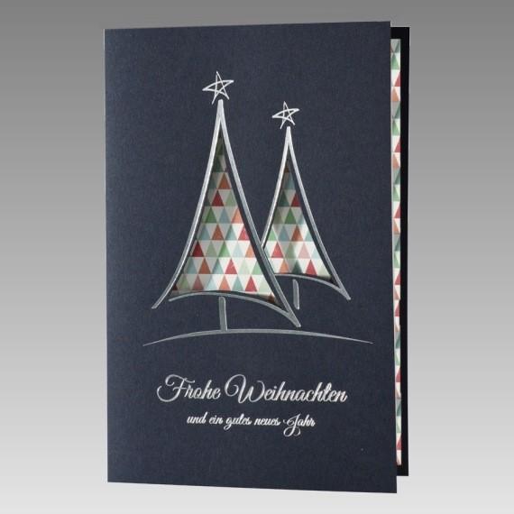 Blaue weihnachtskarte mit buntem einsteckblatt for Moderne weihnachtskarten