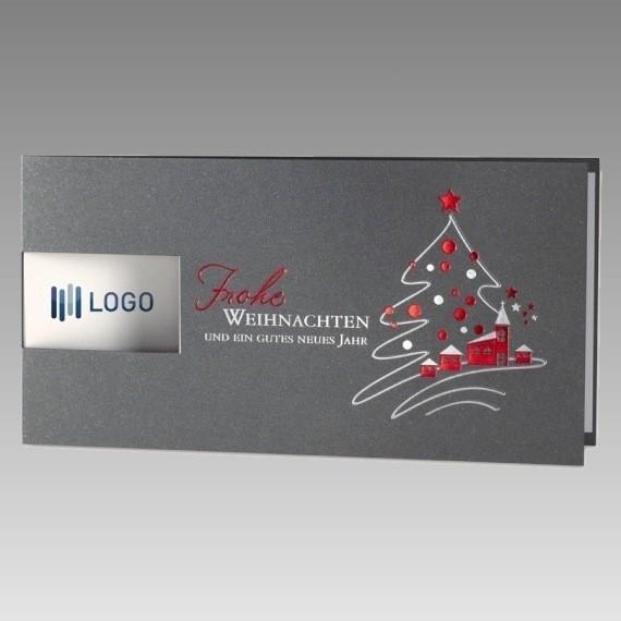 hochwertige weihnachtskarte silbermetallic. Black Bedroom Furniture Sets. Home Design Ideas