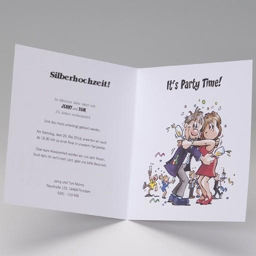 Lustige Einladungskarte Silberhochzeit. Innenansicht Comic Paar