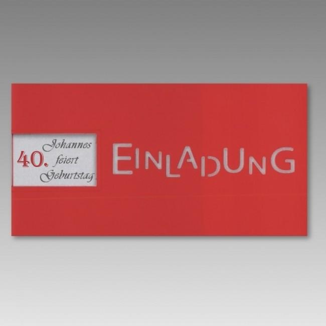 Rote Einladungskarte Zum 40. Geburtstag Mit Fensterausstanzung