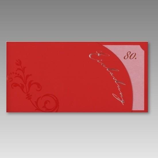 Einladungskarten 80 Geburtstag: Moderne, Rote Einladungskarte 80. Geburtstag