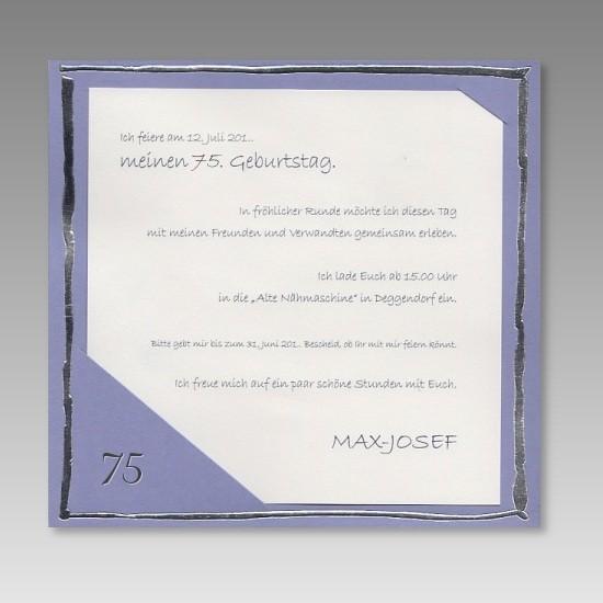 moderne einladung zum 75. geburtstag in hellem lila, Einladungsentwurf