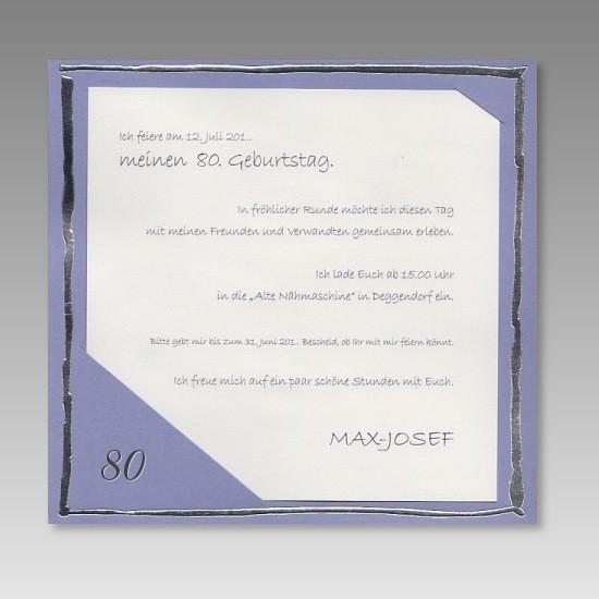 moderne einladung zum 80. geburtstag in hellem lila, Einladungsentwurf