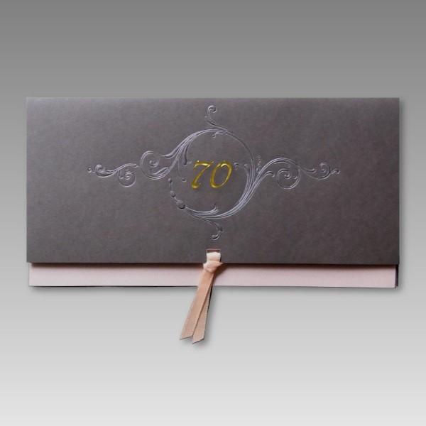 superb Edle Einladungskarten Geburtstag #1: Edle Einladung zum 70. Geburtstag mit Schleife