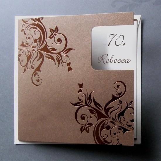Schöne Einladungskarte 70. Geburtstag, Metallic Karton