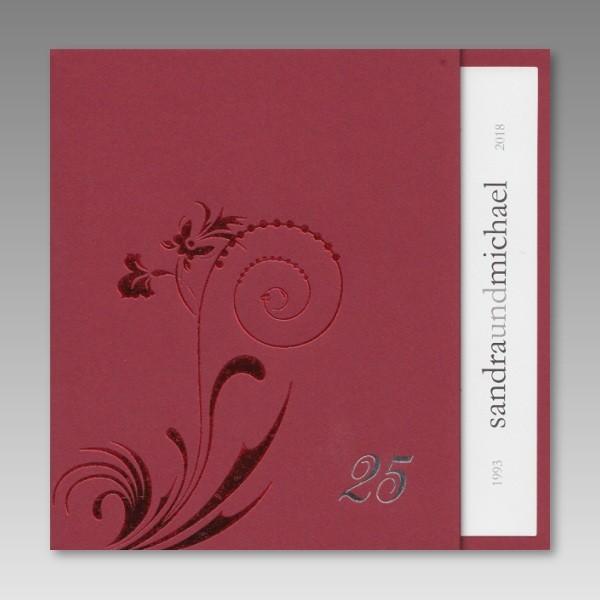 Einladungskarten Silberhochzeit Einladungskarten: Schicke Rote Einladungskarte Zur Silberhochzeit