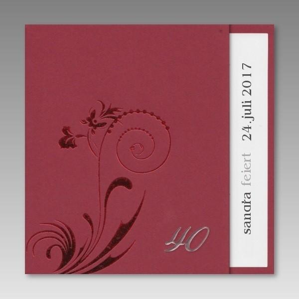 Einladungskarten 40 Geburtstag Einladungskarten 40: Schicke Rote Einladungskarte Zum 40. Geburtstag