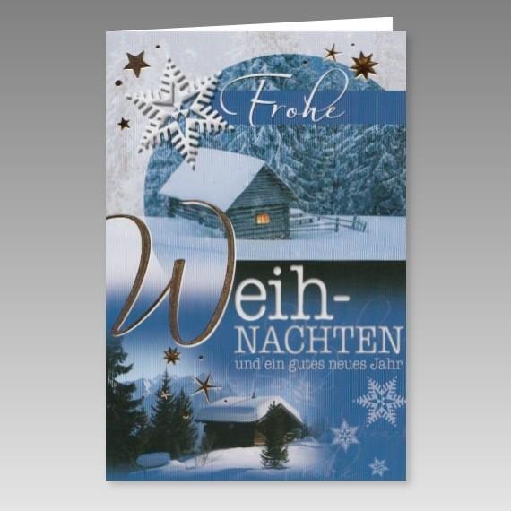 klassische weihnachtskarte mit winterlandschaft. Black Bedroom Furniture Sets. Home Design Ideas