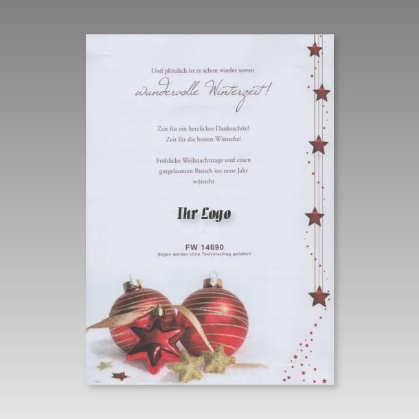 din a4 weihnachtsbrief mit sternen und weihnachtskugel