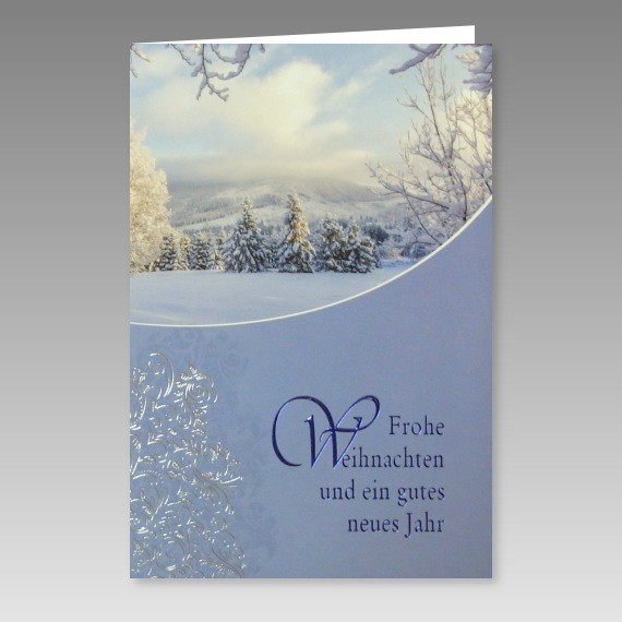 sch ne weihnachtskarte mit schneebedecktem winterwald. Black Bedroom Furniture Sets. Home Design Ideas