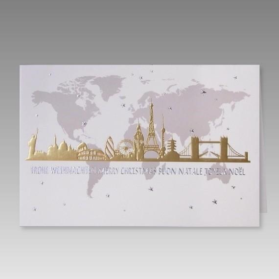 Internationale firmen weihnachtskarte mit weltkarte - Weltkarte mit fotos ...