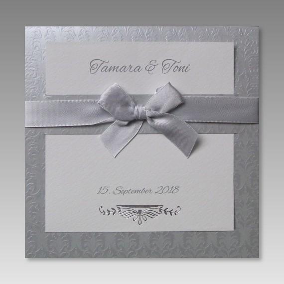 Exklusive Einladungskarte Zur Silberhochzeit Mit Schleife