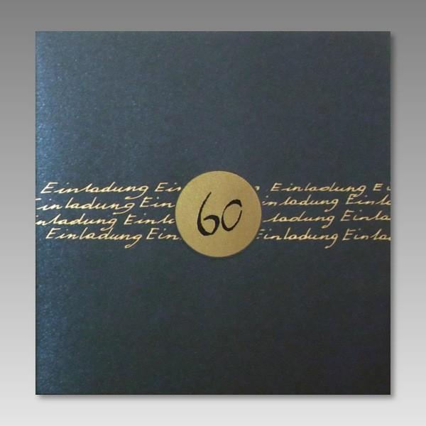 elegante geburtstagseinladung zum 60 in dunkelblau. Black Bedroom Furniture Sets. Home Design Ideas