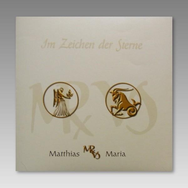 Einladungskarte Zur Hochzeit Mit Sternzeichen   JO32022