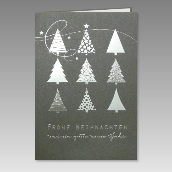 moderne weihnachtskarte in silbermetallic. Black Bedroom Furniture Sets. Home Design Ideas