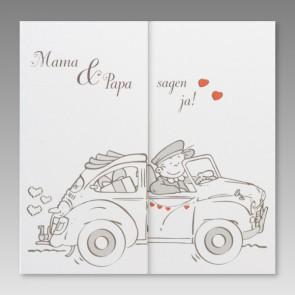 Hochzeitseinladungskarte mit einsteckbaren Kindermotiven