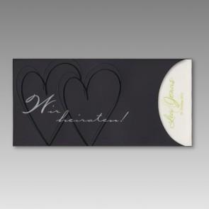 Einladungskarte Hochzeit in schwarz