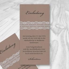 Einladungskarte Konfirmation mit Spitzenband