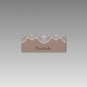 Tischkarte Hochzeit aus braunem Kraftkarton