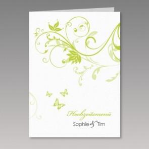 Menükarte zur Hochzeit mit grünen, floralen Ornamenten
