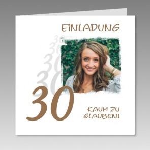 Einladungskarte 30. Geburtstag mit Ihrem Foto, gedruckt
