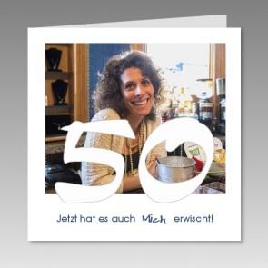 Einladungskarte 50. Geburtstag mit Ihrem Foto, gedruckt