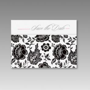 Pocket-Save the date Karte Hochzeit mit Blumenmuster