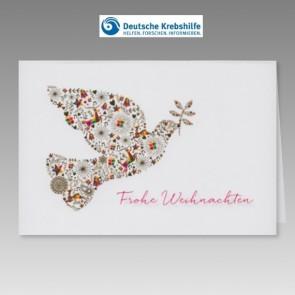 Spendenkarte Deutsche Krebshilfe mit bunter Friedenstaube