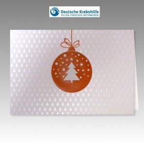 Weiße Weihnachtskarte inklusive Spendenanteil Deutsche Krebshilfe