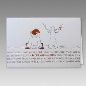 Lustige Weihnachtskarte mit comic Weihnachtsmann