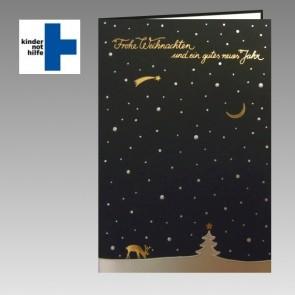 Kindernothilfe Spendenkarte mit Sternenhimmel