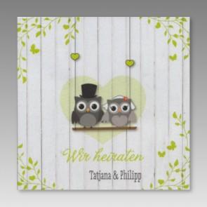 Lustige Einladung Hochzeit mit zwei Eulen als Brautpaar