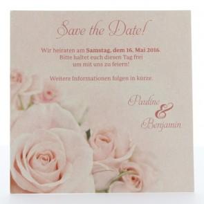Save the date Karte für die Hochzeit mit rosa Rosen